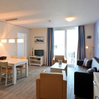 """Apartmenthaus Hafenspitze Ap. 6 """"Strandkrabbe"""", Blickrichtung Innenstadt/Binnenhafen - Eckernförde"""