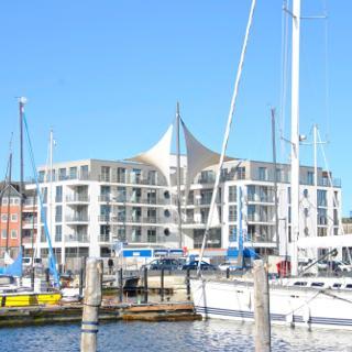 Apartmenthaus Hafenspitze  Ap. 20, Blickrichtung Binnenhafen West/Innenstadt - Eckernförde