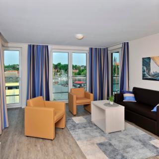 Apartmenthaus Hafenspitze  Ap. 39, Blickrichtung Binnenhafen West/Innenstadt - Eckernförde