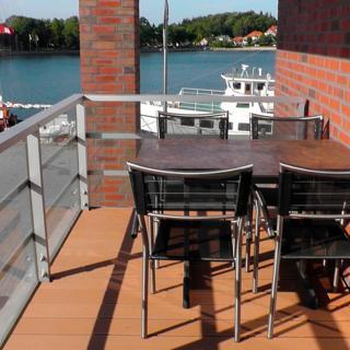 """Apartmenthaus Hafenspitze Ap. 19 """"Zwergtaucher"""", Blickrichtung Binnenhafen West/Innenstadt - Eckernförde"""