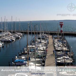Apartmenthaus Hafenspitze Ap. 24, Pier 24, Blickrichtung offene See/Binnenhafen Nord - Eckernförde